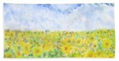 Sunflowers In A Field In  Texas Bath Towel