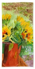 Sunflowers In Copper Hand Towel