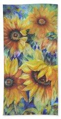 Sunflowers On Blue I Bath Towel