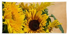 Sunflowers On Old Paper Background Art Prints Bath Towel