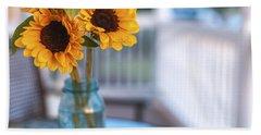 Sunflowers On The Porch Bath Towel
