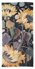 Bath Towel featuring the painting Sunflowers' Symphony by Marina Gnetetsky