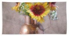 Sunny Treasure Flowers In A Copper Jug Bath Towel