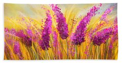 Sunny Lavender Field - Impressionist Hand Towel