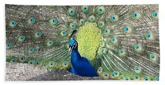Hand Towel featuring the photograph Sunny Peancock by Caryl J Bohn
