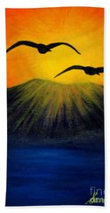 Sunrise And Two Seagulls Hand Towel