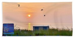 Sunrise At Rehoboth Beach Boardwalk Hand Towel