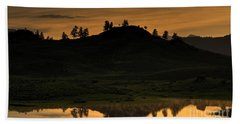 Hand Towel featuring the photograph Sunrise Behind A Yellowstone Ridge by Bill Gabbert