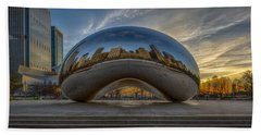 Bath Towel featuring the photograph Sunrise Cloud Gate by Sebastian Musial