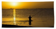 Sunrise Fishing Hand Towel by Scott Carruthers