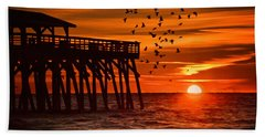 Sunrise In Myrtle Beach With Birds Flying Around The Pier Hand Towel