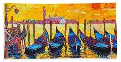 Sunrise In Venice Italy Gondolas And San Giorgio Maggiore Hand Towel