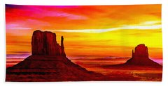Sunrise Monument Valley Mittens Hand Towel by Bob and Nadine Johnston