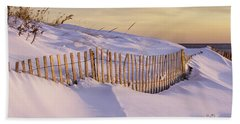 Sunrise On Beach Fence Hand Towel by Betty Denise