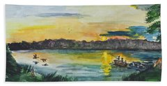 Sunrise On The Lake Hand Towel