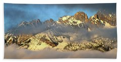 Sunrise On Thompson Peak Hand Towel by Ed  Riche