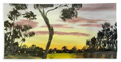 Sunrise Over The Murray River At Lowson South Australia Hand Towel