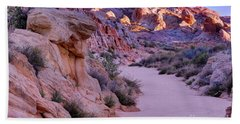 Sunrise Over Valley Of Fire Wash - Nevada Bath Towel