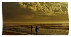 Hand Towel featuring the photograph Sunrise Surf Fishing by Ed Sweeney
