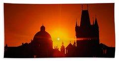 Sunrise Tower Charles Bridge Czech Bath Towel