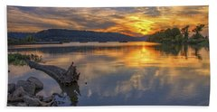 Sunset At Cook's Landing - Arkansas River Hand Towel