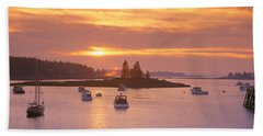Sunset At Lobster Village, Port Clyde Hand Towel