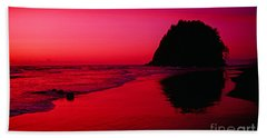 Sunset At Neskowin Beach- Proposal Rock Hand Towel