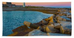 Sunset At Old Scituate Lighthouse Bath Towel