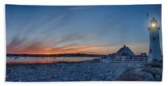 Sunset At Scituate Light Bath Towel