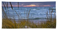 Sunset On The Beach At Lake Michigan With Dune Grass Bath Towel