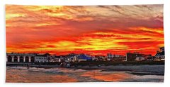 Sunset At The Music Pier Bath Towel by Nick Zelinsky