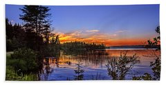 Sunset At The Waskesiu Lake Bath Towel