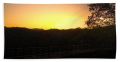 Hand Towel featuring the photograph Sunset Behind Hills by Jonny D