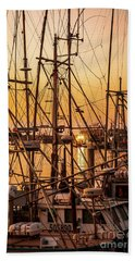 Sunset Boat Masts At Dock Morro Bay Marina Fine Art Photography Print Sale Bath Towel by Jerry Cowart