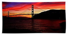 Sunset By The Bay Hand Towel by Dave Files