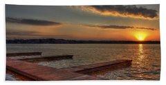 Sunset Docks On Lake Oconee Hand Towel by Reid Callaway