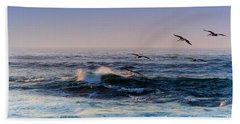 Hand Towel featuring the photograph Sunset Fly by Kathy Bassett