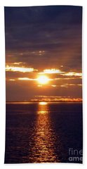 Sunset From Peace River Bridge Hand Towel by Barbie Corbett-Newmin