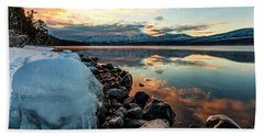 Hand Towel featuring the photograph Sunset Frozen by Aaron Aldrich