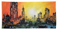 Bath Towel featuring the painting Sunset In The City by Amy Giacomelli