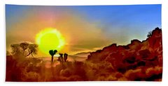 Sunset Joshua Tree National Park V2 Hand Towel by Bob and Nadine Johnston