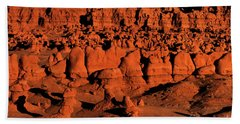 Sunset Light Turns The Hoodoos Blood Red In Goblin Valley State Park Utah Bath Towel