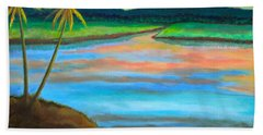 Hand Towel featuring the painting Sunset  by Lorna Maza