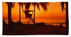 Sunset On Lifeguard Tower At Wailua Hand Towel