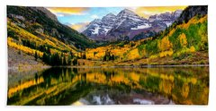 Sunset On Maroon Bells Bath Towel