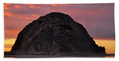 Sunset On Morro Rock Hand Towel by AJ  Schibig
