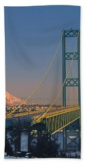 1a4y20-v-sunset On Rainier With The Tacoma Narrows Bridge Hand Towel