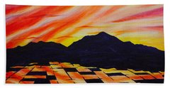 Hand Towel featuring the painting Sunset On Rice Fields by Michele Myers