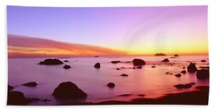 Sunset On Rocky Pacific Shoreline Hand Towel