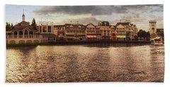 Sunset On The Boardwalk Walt Disney World Hand Towel by Thomas Woolworth